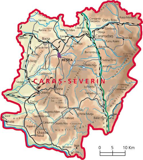 Harta judetul Caras-Severin