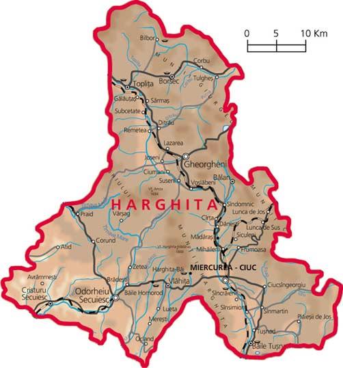 Harta judetul Harghita