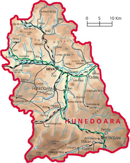Harta Judetul Hunedoara