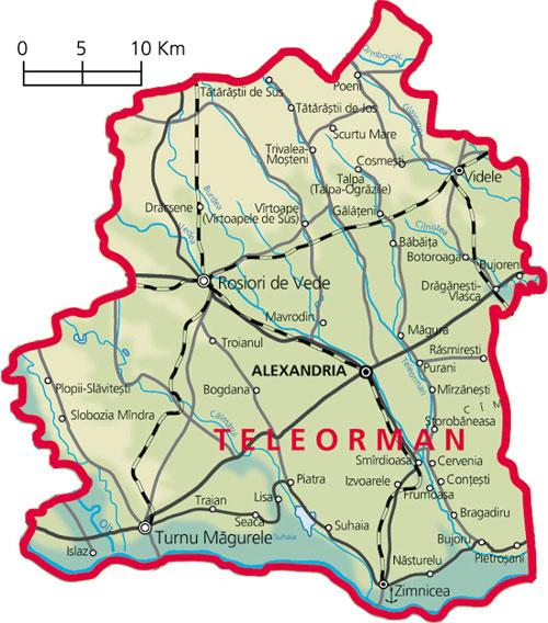 Harta judetul Teleorman