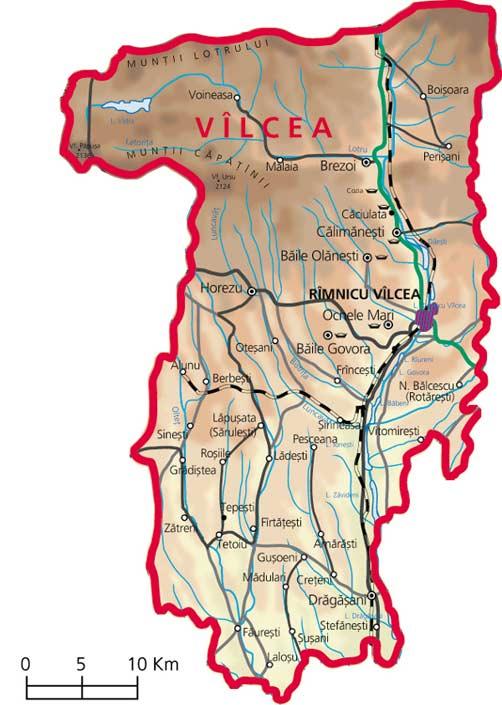 Harta judetul Valcea